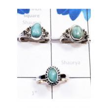 RBS806-Larimar Gemstone With 925 Sterling Silver 3 Pcs Designer Ring Wholesale Lot