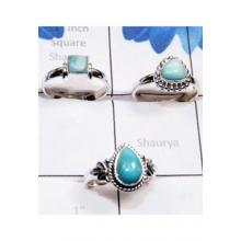 RBS805-3 Pcs Designer Ring Wholesale Lot Larimar Gemstone Made In 925 Sterling Silver