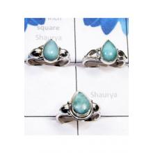 RBS804-Handmade 925 Sterling Silver Larimar Gemstone Wholesale Lot Beautiful 3 Pcs Rings