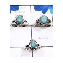 RBS803-Wholesale Lot 3 Pcs Beautiful Rings Larimar Gemstone Made In 925 Sterling Silver Handmade