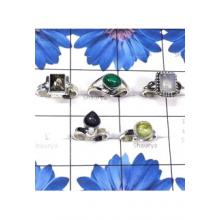 RBS821-925 Sterling Silver Semiprecious Gemstone 5 Pcs Small Size Ring Wholesale Lot