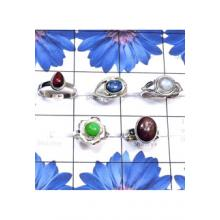 RBS819-Multi Cab Gemstone Made In 925 Sterling Silver 5 Pcs Beautiful Small Size Ring Wholesale Lot