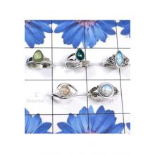 RBS818-925 Sterling Silver 5 Pcs Small Size Ring With Multi Cab Gemstone Wholesale Lot