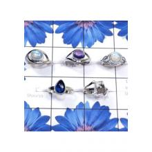 RBS816-Wholesale Lot Designer Small Size 5 Pcs Ring With Multi Cab Gemstone 925 Sterling Silver