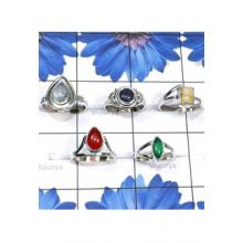 RBS815-Multi Cab Gemstone With 925 Sterling Silver 5 Pcs Designer Small Size Ring Wholesale Lot