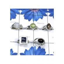 RBS829-Wholesale Lot Semiprecious Gemstone With 925 Sterling Silver 5 Pcs Trendy Rings