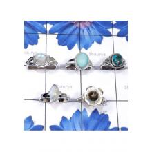 RBS828-Multi Cab Gemstone Wholesale Lot Made In 925 Sterling Silver 5 Pcs Beautiful Ring