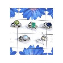 RBS827-Semiprecious Gemstone With 925 Sterling Silver 5 Pcs Trendy Ring Wholesale Lot