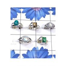 RBS826-Multi Cab Gemstone With 925 Sterling Silver 5 Pcs Beautiful Ring Wholesale Lot
