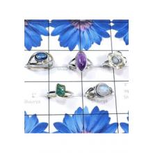 RBS825-925 Sterling Silver 5 Pcs Beautiful Ring Semiprecious Gemstone Wholesale Lot