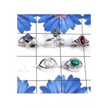 RBS824-Wholesale Lot Semiprecious Gemstone With 925 Sterling Silver 5 Pcs Trendy Rings