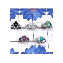 RBS823-Multi Cab Gemstone With 925 Sterling Silver 5 Pcs Beautiful Ring Wholesale Lot