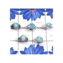 RBS843-Larimar Gemstone Made in 925 Sterling Silver 5 Pcs Trendy Ring Wholesale Lot