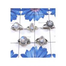 RBS852-925 Sterling Silver Rainbow Moonstone Gemstone 5 Pcs Beautiful Ring Wholesale Lot