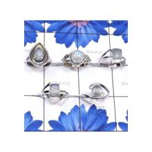 RBS850-Rainbow Moonstone Cab Gemstone With 925 Sterling Silver 5 Pcs Trendy Ring Wholesale Lot