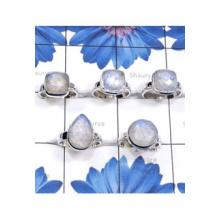 RBS849-Wholesale Lot 5 Pcs Beautiful Ring Rainbow Moonstone Gemstone Made In 925 Sterling Silver