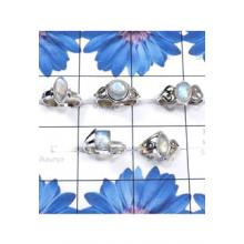 RBS847-Rainbow Moonstone Cab Gemstone 5 Pcs Trendy Ring With 925 Sterling Silver Wholesale Lot