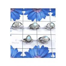 RBS846-Wholesale Lot With 925 Sterling Silver Rainbow Moonstone Cab Gemstone 5 Pcs Ring