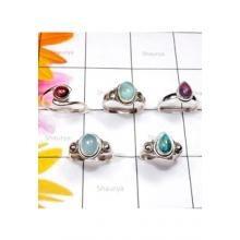 RBS858-Genuine Multi Cab Gemstone With 925 Sterling Silver 5 Pcs Lightweight Ring Wholesale Lot