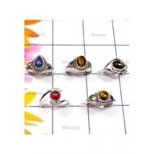 RBS855-Lightweight Multi Cab Gemstone Made In 925 Sterling Silver 5 Pcs Ring Wholesale Lot