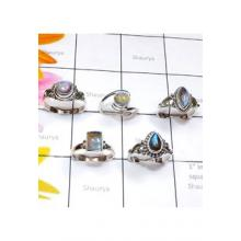 RBS888-925 Sterling Silver Labradorite Cab Gemstone 5 Pcs Beautiful Ring Wholesale Lot