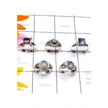 RBS887-Cab Labradorite Gemstone Wholesale Lot Made In 925 Sterling Silver 5 Pcs Beautiful Rings