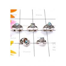 RBS885-Wholesale Lot Cab Labradorite Gemstone With 925 Sterling Silver 5 Pcs Rings