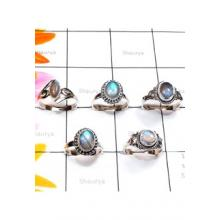RBS884-925 Sterling Silver Cab Labradorite Gemstone Wholesale Lot 5 Pcs Beautiful Rings