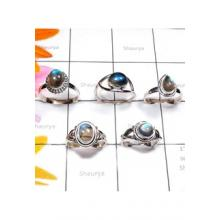 RBS883-Labradorite Cab Gemstone With 925 Sterling Silver 5 Pcs Beautiful Rings Wholesale Lot