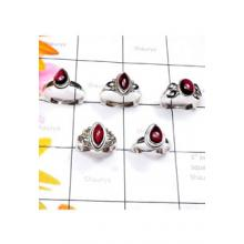RBS893-925 Sterling Silver Genuine Garnet Cab Gemstone Wholesale Lot Small Size Trendy Ring