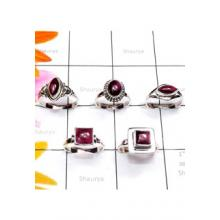 RBS890-925 Sterling Silver Genuine Garnet Cab Gemstone Wholesale Lot Small Size Trendy Ring