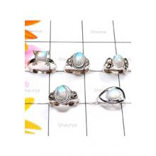 RBS903-925 Sterling Silver Wholesale Lot Rainbow Cab Gemstone Small Size Designer Ring 5 Pcs