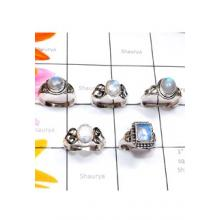 RBS902-925 Sterling Silver Designer 5 Pcs Small Size Ring Cab Gemstone Wholesale Lot
