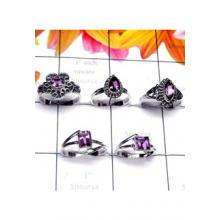 RBS998- 925 Sterling Silver Wholesale Lot With Cut Gemstone 5 Pcs Baby Rings