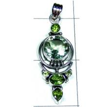 Green Amethyst with Peridot Designer Pendant-S10P424