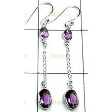 925 Sterling Silver Amethyst Earrings-S12E016