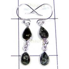 Serphenite Gemstone Silver Bejel Earrings-S12E020