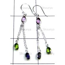 Semiprecious gemstone silver Bejel Earrings-S12E041