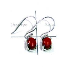 Sterling Silver with Red Coral Earrings-S12E053