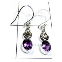 Lovely Cut Amethyst Earrings-S12E054