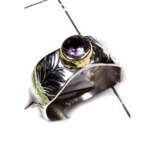 925 Sterling silver with Brass 2 Tone Amethyst Ring-SAR452