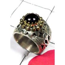 Wholesale silver Brass 2 Tone Garnet Ring-SAR507