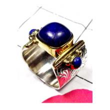 Designer Lapis Ring with Silver Brass-SAR633