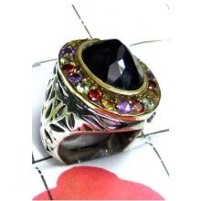 Exclusive Black Onyx Two Tone Ring-SAR855