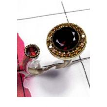 Unique Design silver with Garnet 2 Tone Ring-SAR876