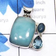 SBA995-Blue Aragonite With Blue Topaz Gemstone Made In 925 Sterling Silver Beautiful Pendant Handmade