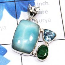 SBA993-Beautiful Pendant Handmade Blue Aragonite With Emerald Gemstone With 925 Sterling Silver