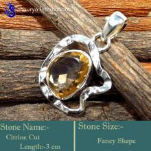 IPC992-Yellow Colour Citrine Gemstone 925 Sterling Silver Pendants