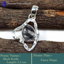 IPC976-Exclusively Handmade Black Rutile Gemstone 925 Sterling Silver Wholesale Pendants