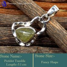 IPC974-925 Sterling Silver Peridot Gemstone Wholesale Designer Pendants